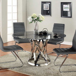 Contemporary Extravagant Round Glass Top Marble Italian 5 pc Kitchen Set - Modern dark grey grain marble table top with leather side chairs. Chairs feature grey color seat and back. Chair designed with elegant shape wavy back with comfortable seat. Table with brewer style chairs will complement and enhance any upscale furniture grouping.