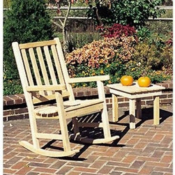 The Nightshade Rocking Chair - The Nightshade Rocking Chair features a classic outdoor style with slightly curved seat and back slats set to maximize your rocking comfort. This wonderfully simple rocking chair will be a great addition to your outdoor setting. The classic touch will be enjoyed by all who sit and rock in it. The white cedar that is used is rot-resistant and can be kept outside all year long. The natural weathering of the wood is appealing and adds character to your landscape. Reflect upon your day as you rock gently in the Nightshade rocking chair.