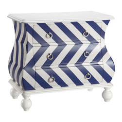 ID-Intelligent Designs - Intelligent Design Chevron Bombe Chest - The Intelligent Design chevron bombe chest showcases turned bun feet giving it an added elegant touch.Featuring three drawers for storage,this charming piece is available in a green,red and blue finish.