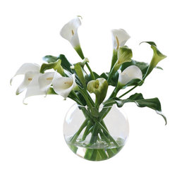Jane Seymour Botanicals - Calla Lilies in Glass Bubble Bowl - Fresh-cut calla lilies are stunning — for a few days, that is, until they start to wilt. Keep their graceful beauty alive with this permanent display of twelve calla lilies resting in a glass ball vase with water illusion. These lilies look every bit as elegant as the real thing, and you can enjoy them for a whole lot longer.