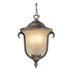 "Frontgate - Santa Barbara Hanging Outdoor Lantern - Medium: 12-3/4"" diameter x 18""H, 6 lbs. Large: 15-3/4"" diameter x 21-1/2""H, 10 lbs. Both sizes include an 8' chain."