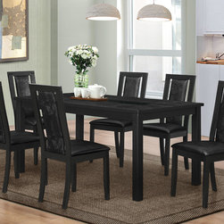 Coaster Co. - Plano Contemporary 7 PC Dining Set - Create a luxurious room with this Dining Set. The modern table features a linear design with a crocodile embossed table top surface. It is also accentuated with two beveled tempered smoked glass inserts. Table offers fixed top and can comfortably seat up to six. The upholstered side chairs have ergonomically shaped wood framed backs and floating center panels. They are upholstered with black crocodile embossed leatherette that is soft to the touch.