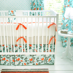 New Arrivals - New Arrivals Crib Bedding Feather Your Nest Aqua - Reflecting the whimsy and joy of life, New Arrivals delivers fun and function to a child's room. A bright nursery design, the aqua blue, orange and brown Feather Your Nest crib bedding delivers a playful combination of fabrics, including polka dots, solids and a whimsical bird and branch motif. This adorable sheet, skirt, receiving blanket and bumper collection offers sets of two, three or four coordinating pieces. Optional boudoir pillow, changing pad cover, curtain panels and bumper monogramming are available. Handmade in the USA.