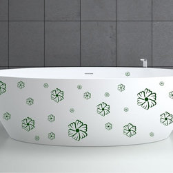 StickONmania - Bathtub Design Decal #27 - These decals come with two of each element mirrored, you choose how to place them.A vinyl decal sticker that lets you choose how to decorate. Decorate your home with original vinyl decals made to order in our shop located in the USA. We only use the best equipment and materials to guarantee the everlasting quality of each vinyl sticker. Our original wall art design stickers are easy to apply on most flat surfaces, including slightly textured walls, windows, mirrors, or any smooth surface. Some wall decals may come in multiple pieces due to the size of the design, different sizes of most of our vinyl stickers are available, please message us for a quote. Interior wall decor stickers come with a MATTE finish that is easier to remove from painted surfaces but Exterior stickers for cars,  bathrooms and refrigerators come with a stickier GLOSSY finish that can also be used for exterior purposes. We DO NOT recommend using glossy finish stickers on walls. All of our Vinyl wall decals are removable but not re-positionable, simply peel and stick, no glue or chemicals needed. Our decals always come with instructions and if you order from Houzz we will always add a small thank you gift.