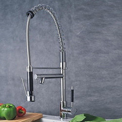 Kitchen Sink Faucets - Solid Brass Spring Kitchen Faucet with Two Spouts (Chrome Finish)-- FaucetSuperDeal.com