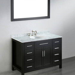"Bosconi - 47'' SB-252-3 Contemporary Single Vanity - Black - A multi-functional Bosconi Contemporary Single Vanity, offers eight drawers and one two-door-cabinet for the most discerning of individuals in the bathroom. This features compartmentalized storage space for just about every bathroom item you need and more. The solid black wood frame ensures durability while the White Carrara Marble guarantees the fresh and contemporary look. The refreshing vanity mirror is mounted horizontally providing a wide and practical reflection; Bosconi at its best. Two soft closing cabinet doors & eight soft closing drawers.; 1 Mirror: 23""W x 47""H; Vanity Dimensions: 47""W x 22""L x 33""H; Countertop Materials: White Carrara Marble; Countertop Thickness: 0.5""; Backsplash Dimensions: 2 -+""H x 0.5""D; Faucet Holes: Three 8"" standard; Number of Sinks: 1; Sink Dimensions: 18""W x 15""L x 7.7""D; Sink Color: White; Sink Materials: Ceramic; Sink Overflow Drain: Yes; Vanity Finish: Black Finish; Vanity Materials: Birch solid wood frame, CARB PH2 MDF; Hardware Finish: Silver"