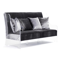 Kathy Kuo Home - Wilshire Hollywood Regency Glam Acrylic Arm Velvet Sofa Bench - Kick up the luxury in your life with this velvet acrylic sofa. With a back and arms fashioned from clear Lucite, this sofa won't overwhelm the room - except with Hollywood glam, that is.  This is a conversation piece that you'll actually use. Try using this as a dining bench, paired with an antique mirrored table for the most glamorous meal you'll ever had at home…every time.