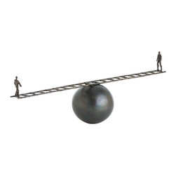 "Arteriors - Arteriors Home - Gent Sculpture - 3010 - This fun natural iron scultpture depicts what appears to be a balancing act between two people walking across a ladder. The center sphere is actually flat so neither one of them is ever going to fall. A great accessory for an office credenza. Features: Gent Collection Sculpture Set of 2Natural IronGreat accessory for an office credenza Some Assembly Required. Dimensions: H: 9"" W: 27"" D: 6"""