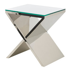 """Nuevo Living - Prague Side Table - You'll have style on — and by — your side with this contemporary table. It features a distinctive """"X"""" base wrapped with polished stainless steel. Available with or without the thick glass top, it's a great way to add distinctive flair and shine to your room."""