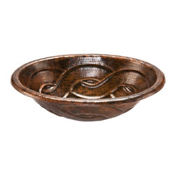 Premier Copper Products - Oval Braid Self Rimming Hammered Copper Sink - Uncompromising quality, beauty, and functionality make up this Premier Oval Self Rimming Hammered Copper Bathroom Sink With Braided Design.