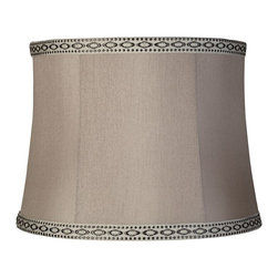 """Lamps Plus - Transitional Gray Faux Silk Lamp Shade 14x16x12 (Spider) - Gray faux silk is adorned with a decorative trim to bring you this elegant lamp shade. Black trim with rhinestones is formed into a diamond pattern around the edges and a chrome finish spider fitter lies within to help you easily move this shade from lamp to lamp. The correct size harp and finial are included free with this purchase. Softback drum lamp shade. Black rhinestone trim. Gray faux silk fabric. White liner. Chrome spider fitter. 14"""" across the top. 16"""" across the bottom. 12"""" on the slant.  Softback drum lamp shade.  Black diamond pattern trim.  Gray faux silk fabric.  White liner.  Chrome spider fitter.  14"""" across the top.  16"""" across the bottom.  12"""" on the slant."""