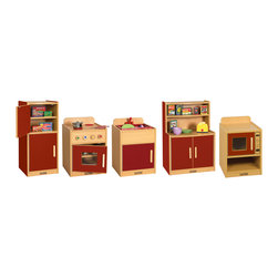 "Ecr4kids - Ecr4Kids Colorful Essentials Five Piece Play Kitchen Color: Red 5 Pc Set - The 5 Pc. Play Kitchen includes a 2-door refrigerator, sink with basin, cupboard shelves stove and microwave. Stove has a see-through window and removable ""hot"" burner covers. Unit is big enough for multiple children to play simultaneously, and has plenty of storage for favorite toy foods and dishes. Available in a warm Maple laminate with primary colored sides that match all items in the Colorful Essentials product line. Style Notes:  Choose: Blue (BL), Red (RD), or Yellow (YE). Colors may vary and are subject to change without notice."