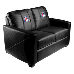 Dreamseat Inc. - University of Arizona NCAA Xcalibur Leather Loveseat - Check out this incredible Loveseat. It's the ultimate in modern styled home leather furniture, and it's one of the coolest things we've ever seen. This is unbelievably comfortable - once you're in it, you won't want to get up. Features a zip-in-zip-out logo panel embroidered with 70,000 stitches. Converts from a solid color to custom-logo furniture in seconds - perfect for a shared or multi-purpose room. Root for several teams? Simply swap the panels out when the seasons change. This is a true statement piece that is perfect for your Man Cave, Game Room, basement or garage.