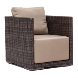 ZUO VIVA - Park Island Armchair Brown - Sit in comfort on the Park Island Armchair. Made from an aluminum frame with a polypropylene weave. The overstuffed cushions are UV and water resistant. Sink into the Park Island and enjoy!
