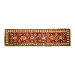 Manhattan Rugs - Traditional Super Kazak Runner 3' X 10' Hand Knotted Veg Dyed Red Wool Rug H5016 - Kazak (Kazakh, Kasak, Gazakh, Qazax). The most used spelling today is Qazax but rug people use Kazak so I generally do as well.The areas known as Kazakstan, Chechenya and Shirvan respectively are situated north of  Iran and Afghanistan and to the east of the Caspian sea and are all new Soviet republics.   These rugs are woven by settled Armenians as well as nomadic Kurds, Georgians, Azerbaijanis and Lurs.  Many of the people of Turkoman origin fled to Pakistan when the Russians invaded Afghanistan and most of the rugs are woven close to Peshawar on the Afghan-Pakistan border.There are many design influences and consequently a large variety of motifs of various medallions, diamonds, latch-hooked zig-zags and other geometric shapes.  However, it is the wonderful colours used with rich reds, blues, yellows and greens which make them stand out from other rugs.  The ability of the Caucasian weaver to use dramatic colours and patterns is unequalled in the rug weaving world.  Very hard-wearing rugs as well as being very collectable