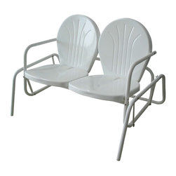 Buffalo Tools - Buffalo Tools Double Seat Glider Chair - Double Seat Glider Chair by Buffalo Tools Sit back and relax on the Buffalo Tools Double Seat Glider Chair. This generously sized glider gently sways front to back, so you and your sweetheart can sit back, enjoy the breeze and watch the world go by. As seen in back yards since the 50s, our Double Seat Glider Chair is a faithful reproduction of the timeless original design. The classic style looks great on the front porch, back patio, backyard or pool deck, and brings back memories of simpler less hectic days.  The Buffalo Tools Double Seat Glider Chair comfortably seats 2 adults, and has a 400 lbs total max weight capacity. The white powder coat finish resists rust and will help keep the Glider looking nice season after season.  Retro styled stamp metal, popular 1950s classic design Comfortably seats 2 adults, 400 lbs max weight capacity For indoor and outdoor use, use on the patio or by the pool White powder coat finish resists rust Measures 48.75 in. x 33.25 in. x 31.75 in. Assembly required