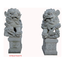 Unique Pair Chinese Hand Carving Glauca Stone FenShui Foo Dog Statue