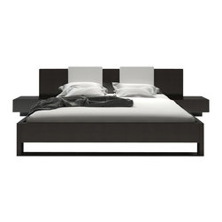 Modloft - Monroe Platform Bed in Wenge with White Headboard Pillows - Features: