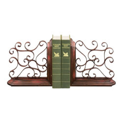 Sterling Industries - Sterling Industries Pair Chatham Bookends X-6750-15 - This pair of sterling industries bookend set from the Chatham Collection first draws your eye with beautiful scrollwork. The ribbon-like curls and traditional details create an open design and are paired with a beautiful blend of warm tones including red and aged bronze.