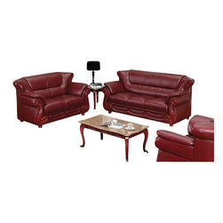 American Eagle Furniture - 7981 Wine Bonded Leather Three Piece Sofa Set With Walnut Finish Wood Trim - The 7981 sofa set has a stylish traditional design with modern flair that will be a great addition for any living room setting. This sofa set comes upholstered in a stunning wine bonded leather on the front where your body touches. Carefully chosen match material is used on the back and sides where contact is minimal. High density foam is placed within each piece for added comfort. The sofa set features walnut finished wood trimming adding to the overall look. The sofa set shown includes a sofa, loveseat, and chair only. The coffee table shown is NOT included.