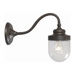 World Imports - Dark Sky 1 Light Outdoor Wall Lamp w Glass Sh - Manufacturer SKU: WI 9071L89. Bulbs not included. Aluminum and Brass construction. Clear Seedy Glass. Great for use indoors and out doors. Bronze Finish. Dark Sky Collection. 1 Light. Power: 100W. Type of bulb: Medium (Regular). Bronze finish. 14 in. Ext.. Back Plate 5 in. D. Glass diameter 4.75. 5 in. W x 10.5 in. H (6 lbs.)Hospitality exudes from inside your home to the outdoors with the new Nichols Road Collection. Reminiscent of New Orleans courtyard making guests feel they are in the heart of the old city.