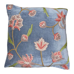 Crewel Fabric World - Crewel Pillow Gulabadar Skeesh Cotton Velvet 20x20 Inches - Artisans in a remote mountain village in Kashmir crewel stitch these blossoms, vines and leaves by hand, resulting in a lush pattern of richly shaded wool yarns on Linen, Cotton, Velvet, Silk Organza, Jute. Also backed in natural linen, Cotton, Velvet Silk Organza, Jute with a hidden zipper.