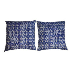 Used Blue and White Graphic Print Pillows - Pair - This fun pair of blue and white ethnic print pillows are just the thing to dress p ay room in your home.  Add them to a banquette or sofa. Classic, yet cool.