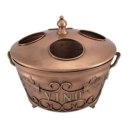 Copper Finish `Vino` 4 Bottle Wine Chilling Tub - This decorative wine chilling tub is sure to be admired and appreciated at your next dinner party. It chills 4 bottles up to 3 1/2 inches in diameter at a time, ensuring that there is always another bottle ready for your guests. The tub measures 12 inches tall (with lid), approximately 14 inches in diameter, and has a beautiful copper finish with scroll work, grape leaves, and `Vino` decorating both sides. The tub also has a handle on either side, making it easy to move, and 1 1/4 inch legs on the bottom. It is an attractive way to keep wine chilled for an event, and makes a great gift.