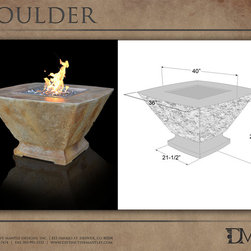 """New Stone Firepits - """"carved stone"""" fire pit look - These cast stone fire pits have the look of a chunk of carved stone.  The firepits are lighweight and usually come in one piece.  There are various burner options: electronic ignition,  match lit, broken glass, river rock, lava rock, and log sets"""