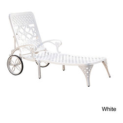 None - Biscayne Chaise Lounge Chair - This Biscayne Chaise Lounge Chair by Home Styles creates an intimate conversation area. This lounge chair is constructed of sturdy cast aluminum in a UV resistant,powder-coated finish sealed with a clear coat for protection.