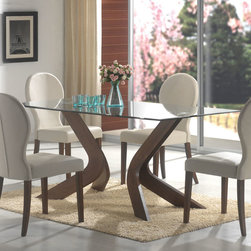 Coaster - San Vicente Collection Glass Top Dining Table in Walnut - A bevelled edge lines the glass top perimeter of the dining table from the San Vicente collection. In a walnut finish, shapely pedestals offer leg room and artistic relief around this dining table. Curved in toward the table's center, these pedestals give the dining room a contemporary allure. Matching chairs come in a light gray color wrapped in a durable leather-like vinyl. Make dinner a fashionable affair around this functionally eccentric dining table.