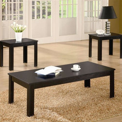 Coaster - 3-Pc Casual Occasional Table Set - Includes one coffee table and two end tables. Rectangular shape. Made from wood. Black finish. End table: 18 in. W x 16 in. D x 19 in. H. Coffee table: 44 in. W x 22 in. D x 15 in. H. WarrantyThis casual three piece occasional table set is a fine example of simplicity at its best. Simple legs continue the fluid lines and modest design of this living room end table set.