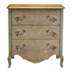 Kathy Kuo Home - Houdon French Country Cherry Wood Blue Arabesque Chest Dresser - Like a cloudless Tuscan sky, the light blue finish of this French Country chest of drawers brightens any room. An arabesque pattern on the wallpaper treatment of the three drawers adds feminine detail to this dresser. A polished rectangle of cherry wood sits atop the drawers, completing the pastoral piece. Made to order in Europe; please allow 4 months lead time to ship.