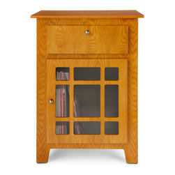 """Crosley - Richmond Entertainment Center Cabinet - Oak - Crosley Misson-style Stereo Stand mixes vintage style with space for modern media. Dismayed with the price tag for a radio receiver, Powel Crosley built his own. In 1920, he founded the company that pioneered radio broadcasting and mass market manufacturing around the world. Today, the Crosley name lives on with superbly-detailed replicas that truly transcend time. Rich lines, retro designs and authentic craftsmanship blend today's function with a bit of nostalgia. This delightful Crosley-style Mission Stereo Stand holds your stereo components, plus stores your CDs, DVDs, cassettes, videos and other media. What a great look for anywhere in your home! And the band played on!!Hand-rubbed finish; Wood shelf for CDs, cassettes or DVDs; Decorative glass door; Light assembly required. Put the """"fun"""" in """"function""""! Order this Stereo Stand today! Crosley Mission-style Stereo Stand"""