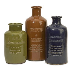 iMax - Vintage Elixir Bottles, Set of 3 - Fashioned after antique elixir bottles, this set of three ceramic bottles in warm toned finishes are in good taste and add a sweet element to any decor.