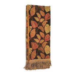 "Canaan - Leaf Chenille Leaf Print Throw Blanket - Leaf chenille leaf print throw blanket with soft liner and bullion fringe trim. Measures 46"" x 68"". These are custom made in the U.S.A and take 4-6 weeks lead time for production."