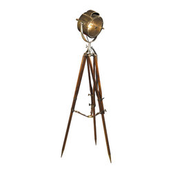 """Inviting Home - Patrol Spotlight Tripod Lamp - Replica of the 30s Navy spotlight is hand-crafted of brass and aluminum; 25-1/2"""" x 25-1/2"""" x 71""""H; Replica of the 30s Navy spotlight is hand-crafted of brass and aluminum. Tripod lamp features molded industrial glass; bronze cooling cap; hand-polished heavy aluminum cast cradle; bridle leather tri-arm; adjustable high; brass hardware and solid brass folding floor pads. As always searching for the lucky find the original of this 30s Navy spotlight was unearthed in an antique store in Greenwich England. In a way the light is a wonderful combination of old technology romantic seafaring and practical lighting. Perched on its imposing rosewood tripod the light dominates adding character to a room an important element in today's design philosophy. Our replica of 30s Navy spotlight is hand-crafted of brass and aluminum. This is signature for those who value master craftsmanship and technical skills. Coast guard patrol spotlight tripod lamp is a great addition to a now much appreciated collection of spotlights and tripod lamps."""