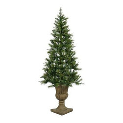 Vickerman Potted Oneco Half Pre-Lit Christmas Tree - Light up your entryway, living room, front porch, or office with the Vickerman Potted Oneco Half Pre-Lit Christmas Tree. Beautifully designed and sitting in a gorgeous urn, this beautiful tree boasts and abundance of lights as well as tips, giving it a lush look and feel. Specifications for 6.5-Foot Tree Shape: Half & Quarter Base Width: 46 inches Number of Bulbs: 200 Number of Tips: 383 Specifications for 7.5-Foot Tree Shape: Half & Quarter Base Width: 49 inches Number of Bulbs: 300 Number of Tips: 567 Don't Forget to Fluff!Simply start at the top and work in a spiral motion down the tree. For best results, you'll want to start from the inside and work out, making sure to touch every branch, positioning them up and down in a variety of ways, checking for any open spaces as you go.As you work your way down, the spiral motion will ensure that you won't have any gaps. And by touching every branch you'll make the desired full, natural look. About VickermanThis product is proudly made by Vickerman; a leader in high quality holiday decor. Founded in 1940; the Vickerman Company has established itself as an innovative company dedicated to exceeding the expectations of their customers. With a wide variety of remarkably realistic looking foliage; greenery and beautiful trees; Vickerman is a name you can trust for helping you make beloved holiday memories year after year.