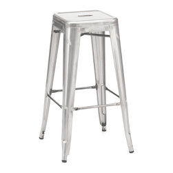 Design Lab MN - Amalfi Stackable Galvanized Steel Barstool Set of 4 - The amalfi steel stackable barstool is a fantastic designed barstool to add to any restaurant, bistro or coffee house. This barstool is produced in rolled steel which can withstand any high traffic area. It also can be stacked to save space if needed. Produced by Design Lab MN, this product is manufacturer to highest standards in the furniture industry.
