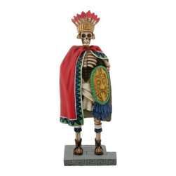 Summit - 6.75 Inch Cold Cast Resin Day of the Dead Skeleton Aztec King Figurine - This gorgeous 6.75 Inch Cold Cast Resin Day of the Dead Skeleton Aztec King Figurine has the finest details and highest quality you will find anywhere! 6.75 Inch Cold Cast Resin Day of the Dead Skeleton Aztec King Figurine is truly remarkable.