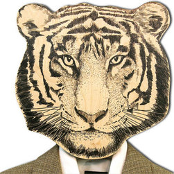 Unique Hook/Hanger Mask, Tiger by Design Atelier Article - This quirky tiger hook cover is constructed of high-quality birch plywood and hand covered with natural beeswax.