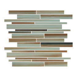 Rocky Point Tile - Sunset Beach Linear Glass Mosaic Tiles, 10 Square Feet - A nice hand painted, bright and punchy mix of oranges and reds, interlaced with sandy colors, and taupe. The warmth this tile generates could brighten the darkest of rooms. A great choice for a white kitchen in need of a little color. These mosaics repeat every 6 inches giving the option to use them as a poppy accent strip.