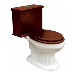 Renovators Supply - Toilets White Lowboy Flat Panel Elongated Dark Oak Finish | 16777 - Lowboy Toilets: Old World Charm with 21st Century technology. Save WATER and MONEY with Renovator's water-saving dual flush system that offers both a 0.8 or 1.6 gallon flush. Discrete and handy the top button lets you control the flush flow needed. Its solid wood Flat Panel tank has a dark oak finish. Ready to install with all mounting parts, includes solid wood tank and liner, supply line, angle stop, mounting hardware and Grade A vitreous elongated bowl. Toilet seat not included. 29 inch H x 17 inch W x 27 1/2 inch projection