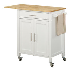 Sunset Trading - 35 in. Eco-Friendly Kitchen Cart - Convenient mobile design with locking wheels. Durable piece sure to be welcome addition to any dining area. Stainless steel hardware and drop leaf add style, multifunction and quality. Ease of access with shelving for a variety of storage options. One cabinet for hidden storage. One utility drawer and towel bar. Natural wood base and butcher block top. Warranty: One year. Made from Malaysian oak solids and veneers. White finish. Made in Malaysia. Assembly required. 40.5 in. L x 19 in. W x 35 in. H (67 lbs.)Add plenty of extra storage space to your kitchen, dining or entertainment room with this versatile Sunset Trading cart. Maximize the functionality of your kitchen with style by adding a kitchen cart from Sunset Trading Sunset Dining Collection. Increase your kitchen storage and functionality for years to come without breaking the budget!