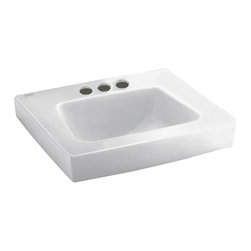 """American Standard - American Standard 0195.073.020 Roxalyn Wall-Mount Sink, White - American Standard 0195.073.020 Roxalyn Wall-Mount Sink, White. This wall-mounted sink is designed with a vitreous china construction, a front overflow, a faucet ledge, and a concealed off-wall installation with 2"""" clearance from the wall. This model comes with 4"""" centered faucet mounting holes, and it measures 20"""" by 18"""", with a 7"""" bowl depth."""