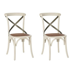 Safavieh - Blanchefleur Side Chair - No chair is as famous as Thonet's bentwood cafe model, and Blanchefleur X Back side chair pays homage to the beloved original. Your kitchen or dining room will conjure images of Vienna cafe society with Blanchefleur's bent metal frame in ivory finish, rattan seat and authentic arch brace in black metal.