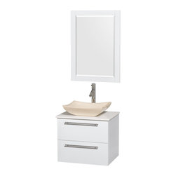 """Wyndham Collection - Amare 24"""" Bathroom Vanity Set Ivory Marble Sink, White, White Stone Top - Product Features"""