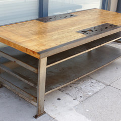 Urban Country - PEXTO - c. 1930's Wood and Iron Metal Worker's Table - 1stdibs /