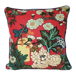 The Pillow Studio - Red Schumacher Piped Chiang Mai Dragon with Lanterns and Flowers with Navy Blue - What is not to love about this pillow?
