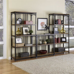 HomeStyles - Modern Craftsman 3PC Multi-Function Shelving - Reminiscent of the American Craftsman Era with understated style and simplicity, the Modern Craftsman Multi-Function Shelving Unit marries a traditional,  distressed Oak finish on engineered wood solids with oak veneers with new age, deep brown powder coated metal accented with gold highlighting. This multi-faceted storage shelf will meet all your storage needs, and will complement any area in the home such as bedroom, kitchen, office, living room, bathroom, etc. The Modern Craftsman Storage unit is equipped with 13 fixed shelves with metal supports to prevent bowing. Other features include levelers on the feet for added stability. 114 in. W x 16 in. D x 76.25 in. H